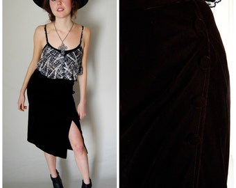 Velvet Wrap Skirt Vintage 60s Black Velvet High Waist Wrap Boho Skirt (xs)