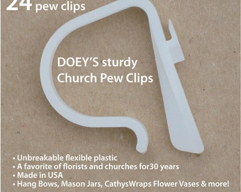 Doeys Pew Bow Clips hold heavy Wedding Ceremony Pew Decorations to Church Pews & Reception Tables. Bows, Flowers, Mason Jars, 24 Pew Hooks