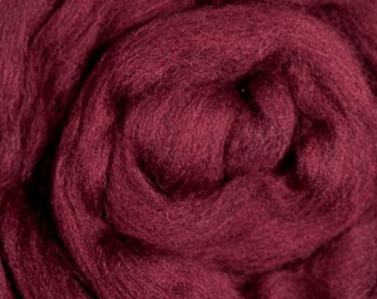 Dyed Merino/ Maroon/ Solid Color/ Combed Top/ Spinning Top/ Alba Ranch/ Roving/ 8 oz/ Needle Felting/ Fine Merino Wool/ Felting/