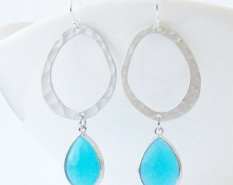 Ocean Blue Crystal Drop Earrings