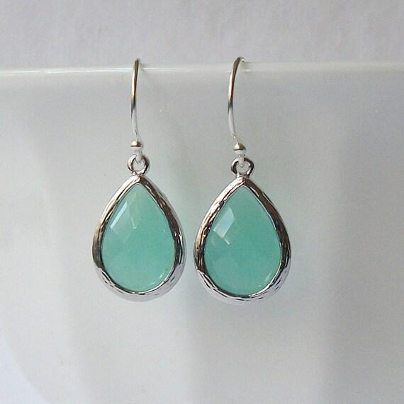 LAST ONE  Mint Green Crystal Drop Earrings