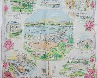 Vintage Floating Bridge of Seattle Souvenir Handkerchief