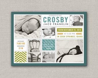 Baby Boy Birth Announcement - Crosby