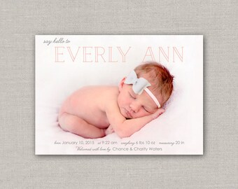 Baby Girl Birth Announcement - Everly