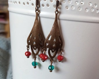 Natural Brass Chandelier Earrings with Red and Teal Beads