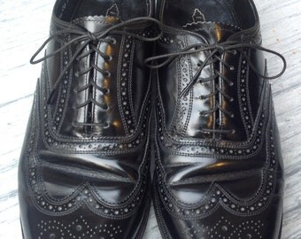 80s FLORSHEIM Mens WINGTIPS Black Leather brogue B Men's Shoes size 9 1/2  eee