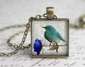 Blue Bird Glass Pendant -Blue Flower Jewelry -Blue Bird Necklace -  Art Pendant  -Blue Flower  Charm, Bird Necklace