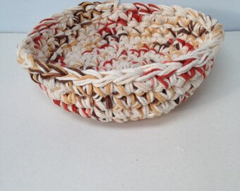 """Varigated browns cotton Crocheted Bowl, 2 1/2""""x7"""""""