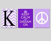 Keep Calm and Dream On, Chevron Monogram Initial, Peace Sign Trio - Set of Three 8x10 Prints - CHOOSE YOUR COLORS - Teen Girl Bedroom Art