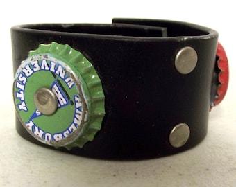 Black Cuff - Bottlecap embellishments  -  Upcycled  bracelet - reclaimed jewelry bottle cap