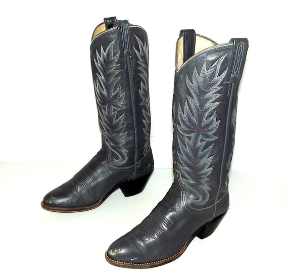 vintage grey leather cowboy boots dan post brand womens size 6