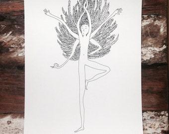Tree II - Vrikshasana - Yoga Art