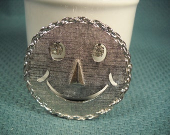 SMILEY FACE PENDANT & Brooch Classic 1970's Smiley Face with Rhinestone Eyes, smiley Face with Rhinestone eyes, Smiley Face Pendant