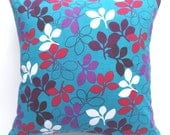Teal blue pillow cover- Floral print pillow cover-24 inch-and Euro sham- Outdoor canvas fabric throw pillow  custom made 1 in stock 24inch.