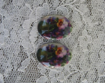 Pretty Pansies Cabochons Pansy Flower Cabochons Pansy Cameos Pair of 18x24mm Fine Porcelain Glass Cameos