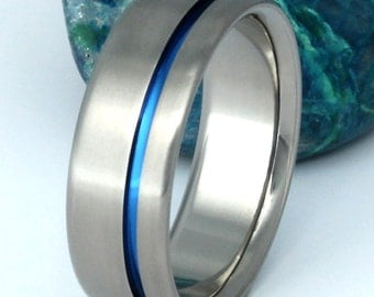 Blue Titanium Ring - Thin Blue Line - Titanium Band One Carved Blue Line - b2