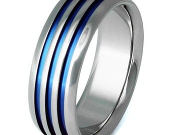 Thin Blue Line Titanium Ring - Striped Band - b50