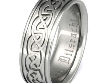 Irish Celtic Titanium Wedding Band - Infinity Ring - ck57