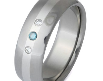 Titanium Platinum Diamond Wedding Ring - Diamond Engagement Ring - Blue Diamond - s3