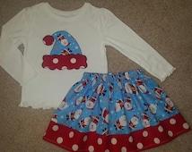 Santa Hat Ho Ho Ho Christmas Holiday Applique Tee Shirt and Skirt ANY Size 18m 24m 2T 3T 4 5 6 7 8 9 10