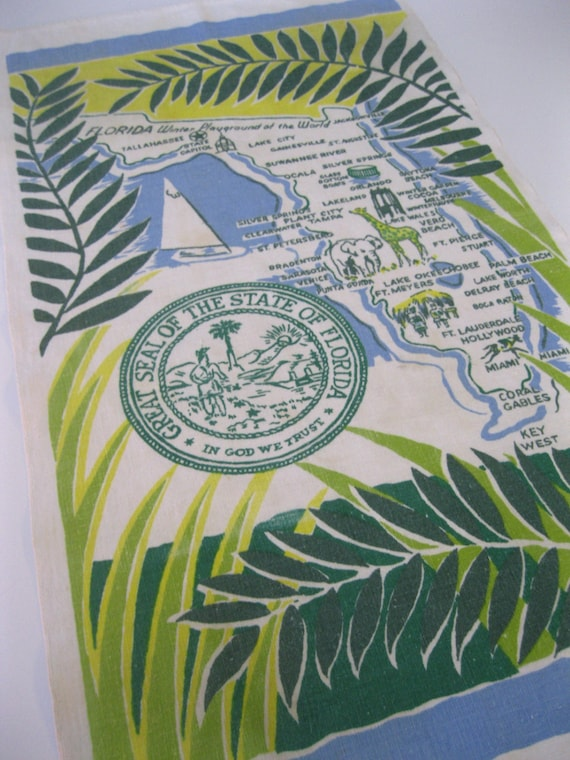 Florida tea towel linen blue and green dish towel souvenir palm fronds and map 1960s