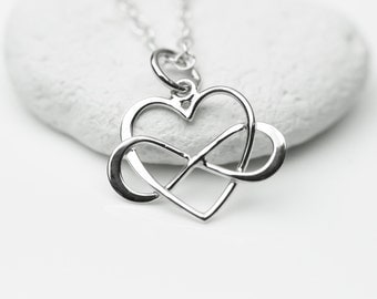 Sterling Silver Infinity Heart Necklace - Best Friend Necklace, Sisters Necklace, Endless Love
