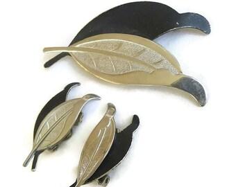 Black Enamel Leaf Brooch and Earrings Set Vintage Silver Tone