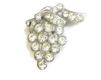 Vintage Art Deco Pot Metal Clear Rhinestone Grape Cluster Brooch or Pin