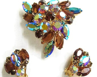 Juliana Amber Rhinestone Brooch & Earrings Set Topaz and Blue Aurora Borealis Rhinestones Domed Vintage Verified