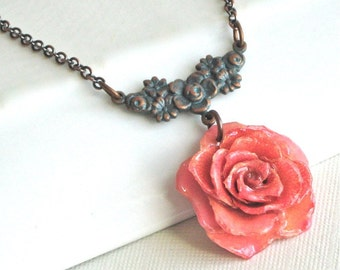 Real Rose Necklace -  Pink Rose,  Flower Jewelry, Natural Preserved, Nature Jewelry