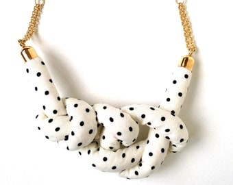 Dots Rope Knot Necklace - Ivory