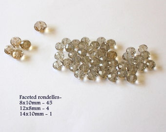 Chinese Crystal Smokey Quartz assortment of twist round, rondelles, and oval beads DESTASHING