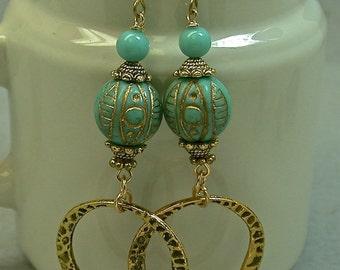 Vintage Glass Bead Earrings Aqua Blue Etched Long Dangle Drop Earrings, Gold Hoops - GIFT WRAPPED