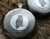 Owl Round Patterned Flask in Embossed Design