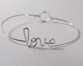 Love bracelet, name bracelet, sister gift, sterling silver filled