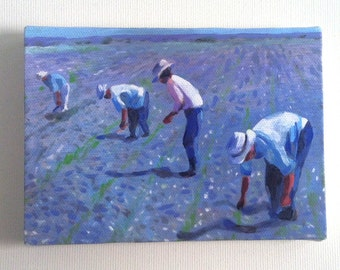 Working in the field- Tiny canvas print- art prints