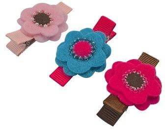 Stella Felt Flower 3 Piece Hair Clip Set