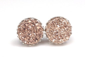 "1/2"" (12mm) Round Rose Gold Copper Druzy Drusy Stud Earrings in Silver Lace Setting with Hypoallergenic Nickel Free Titanium Posts"