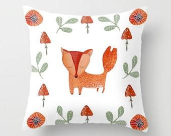 Fox with Mushroom Pillow cover throw, nursery room decor