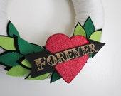 Valentine's Day Wreath, Heart Wreath, Yarn and Felt Wreath, 12 inch size - Ready to Ship