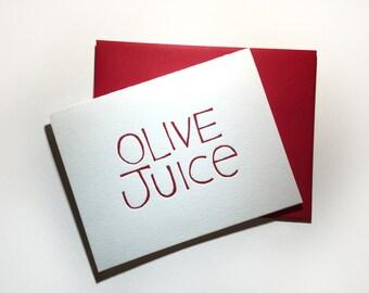 """Olive Juice """"I Love You"""" Letterpress Card"""