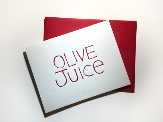"Olive Juice ""I Love You"" Letterpress Card"
