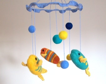 Baby crib mobile, Fish Mobile, felted mobile, felted fish mobile nautical nursery mobile crochet felted fish yellow blue teal decor