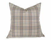Tan Blue Plaid Pillows, Cream Plaid Throw Pillow, Menswear Style Couch Pillow, Masculine Toss Cushions, 20x20, 50x50 cm