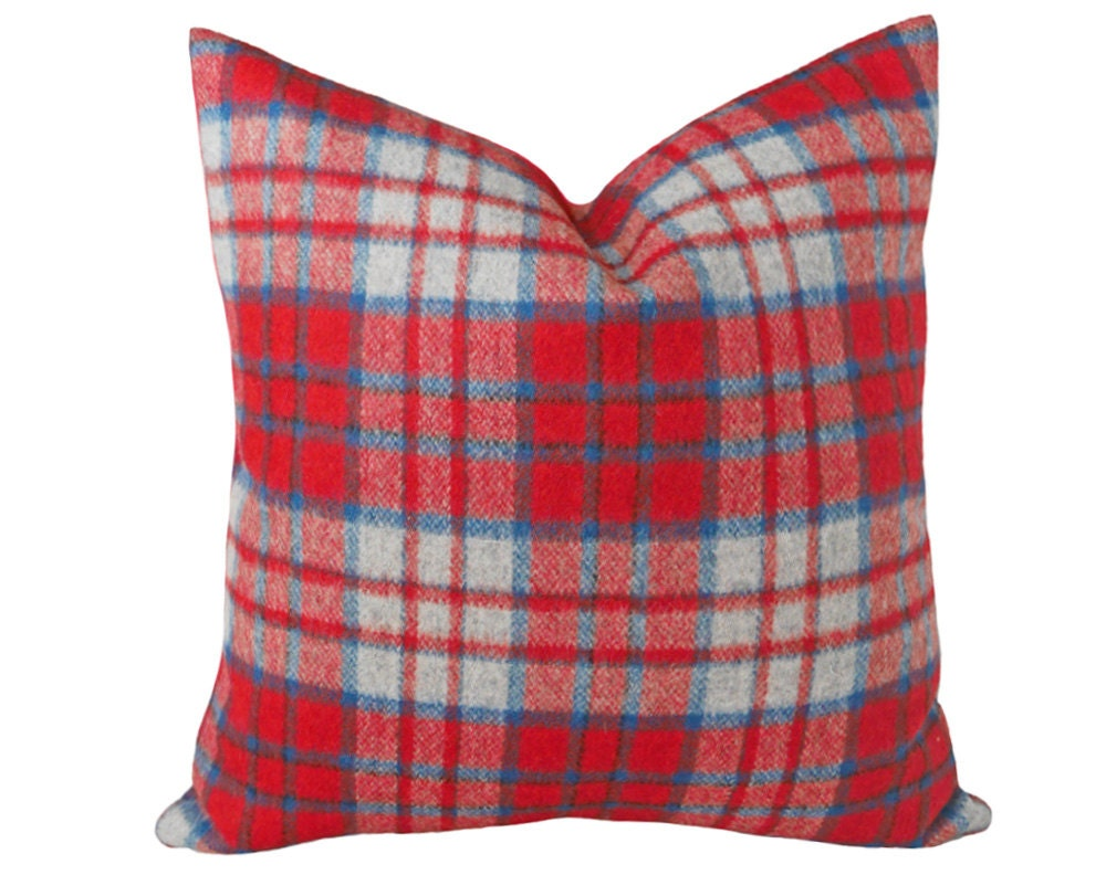 Country Christmas Plaid Pillow Red Grey Plaid Pillow Cover