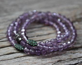 Tsavorite Amethyst Beaded Bracelet in Oxidized Sterling Silver / Beadwork, Bright Neon Green Tsavorite, Lavender, Purple Natural Gemstones
