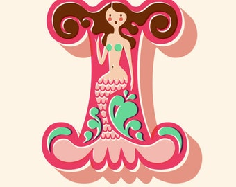 "11X14"" mermaid letter I giclee print on fine art paper. mauve pink, mint green, brunette, cream background."