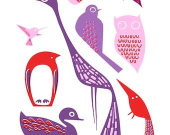 "4X6"" birds giclee print on fine art paper. lavender purple, lilac, red."