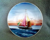 Gorgeous Vintage Japanese Hand Painted Porcelain Saucer or Bowl With Sailboat