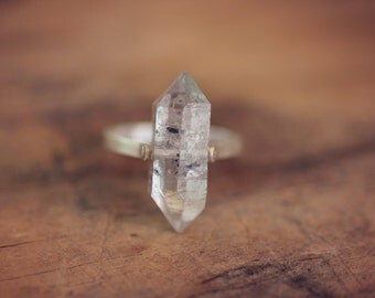 Herkimer Diamond Ring, Sterling Silver Band - Custom Sizing - Stone Quartz Crystal